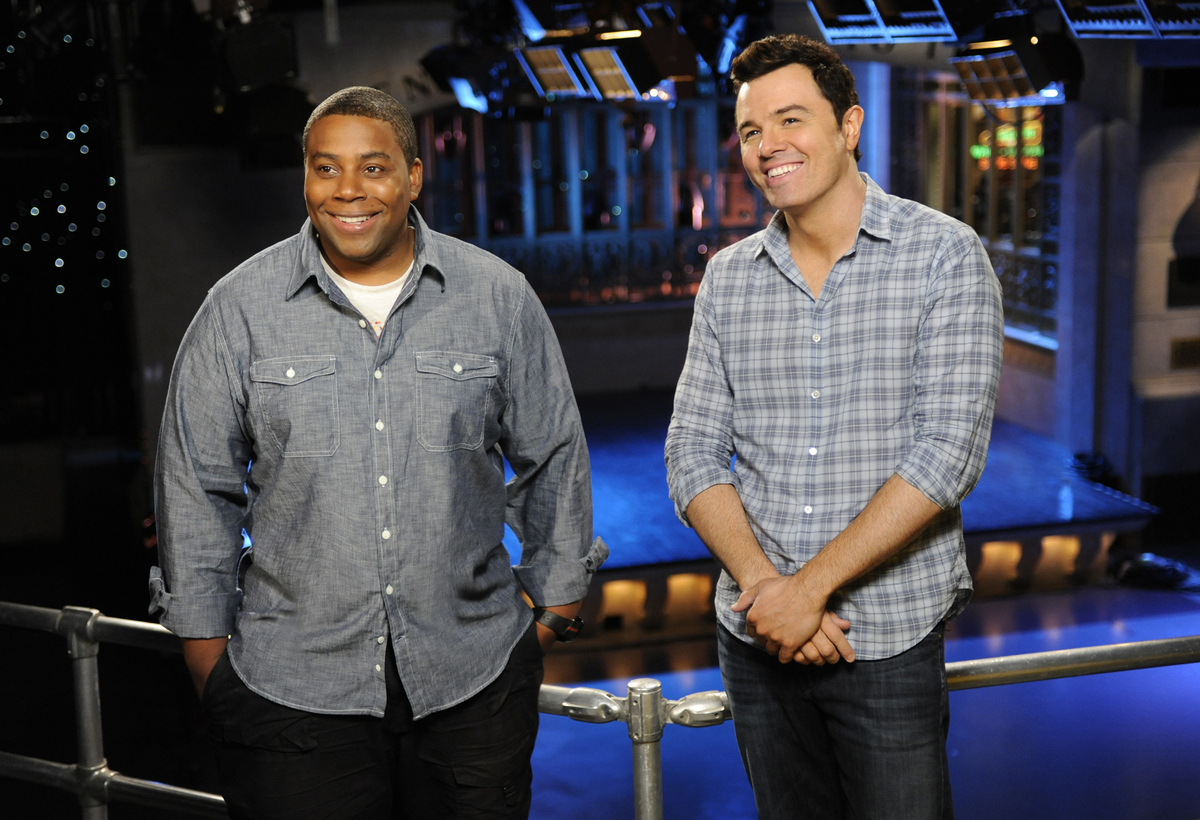 Kenan Thompson and season premiere host Seth MacFarlane.