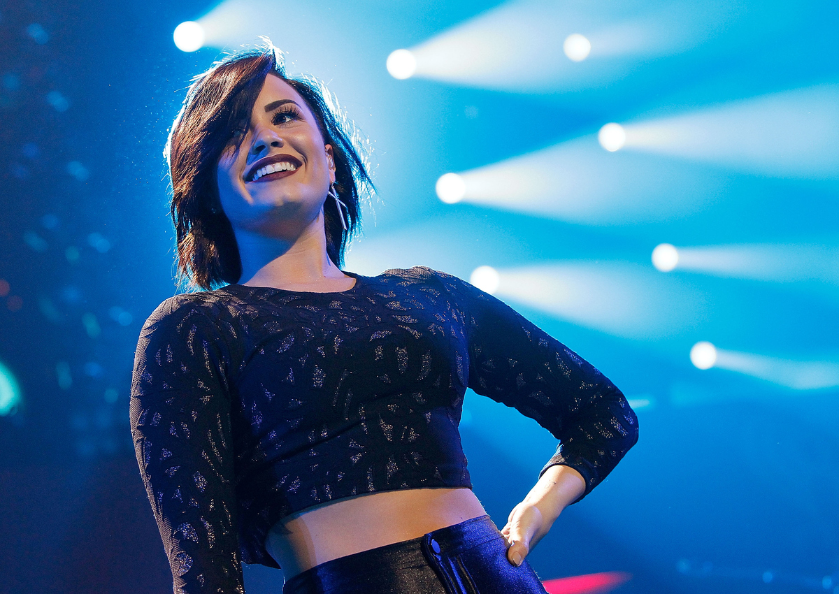 WASHINGTON, DC - DECEMBER 15:  Demi Lovato performs during Hot 99.5's Jingle Ball 2014 at the Verizon Center on December 15,
