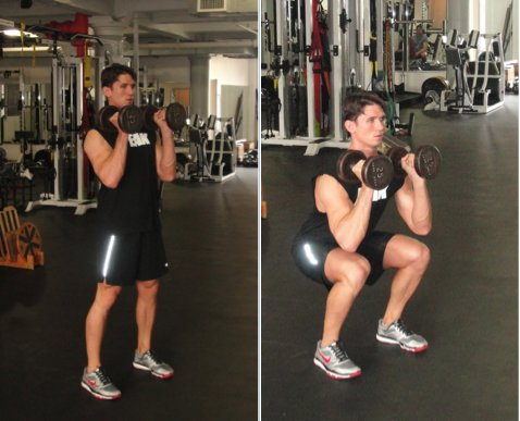 Grab a pair of dumbbells and stand tall with your feet about shoulder width apart.  Before starting the movement bring the du