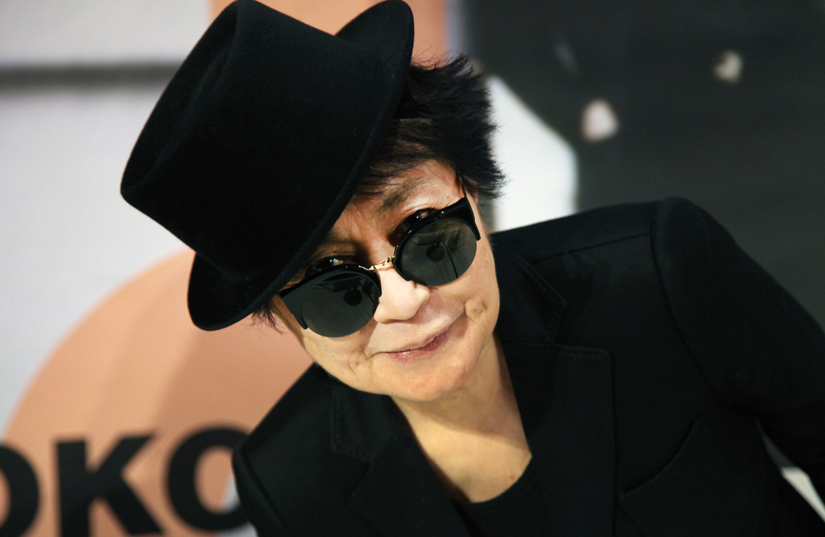 Yoko Ono poses during the opening of her exhibition 'half-a-wind show' at the Schirn Kunsthalle in Frankfurt am Main, central