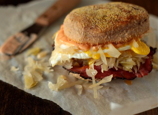 "<strong>Get the <a href=""http://www.gimmesomeoven.com/reuben-breakfast-sandwich-on-pumpernickel-english-muffins/"">Reuben Brea"