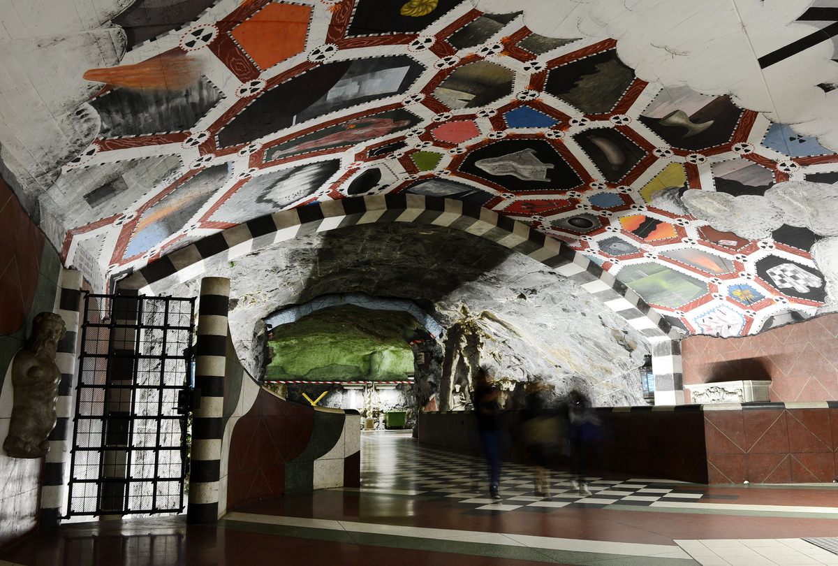 More than 90 of the 100 subway stations in Stockholm have been decorated with sculptures, mosaics, paintings, installations,