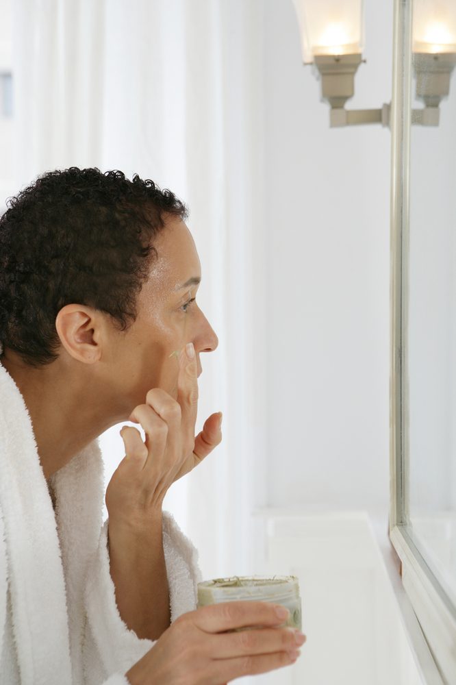 Makeup sitting on flaky skin flakes off. Use a gentle microbead scrub, or even just a washcloth, to buff away any dead cells