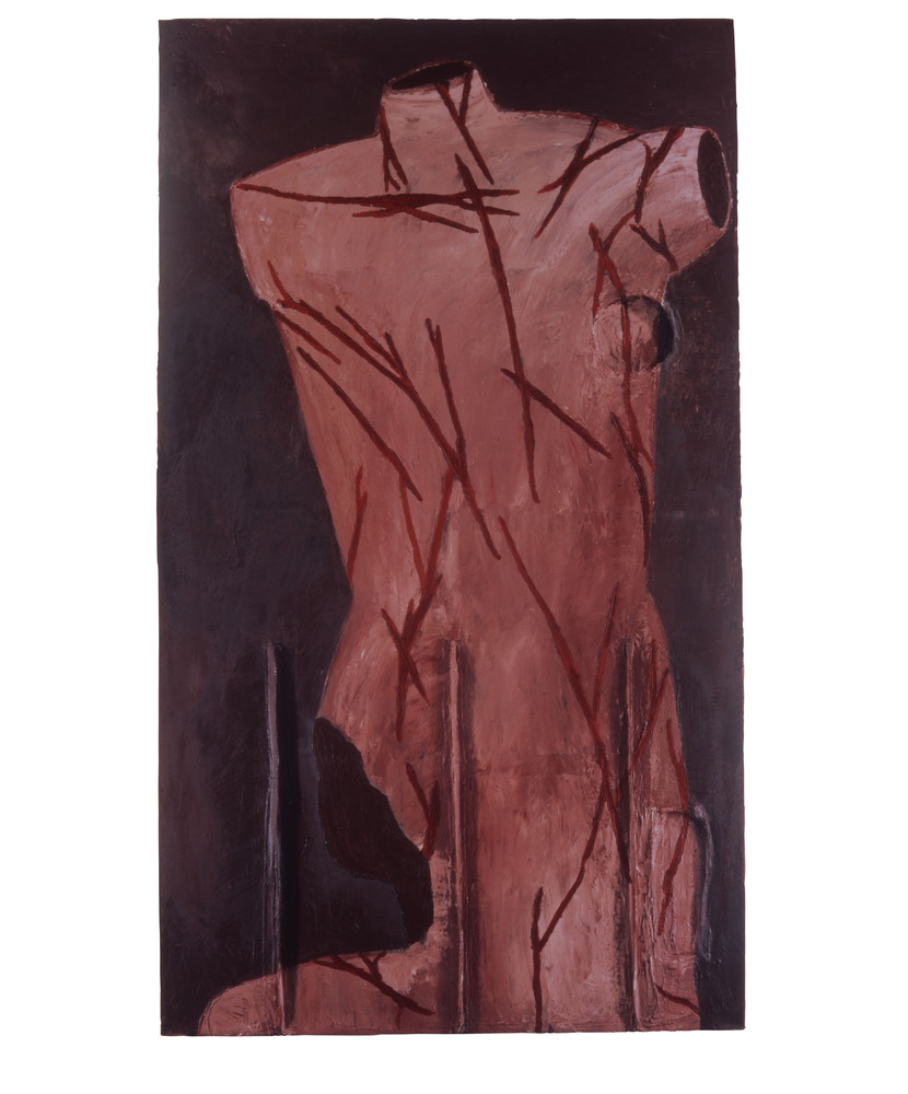 St. Sebastian – Born in 1951, 1975 ‐ 1979 Oil, wax, and modeling paste on canvas 111 x 66 inches
