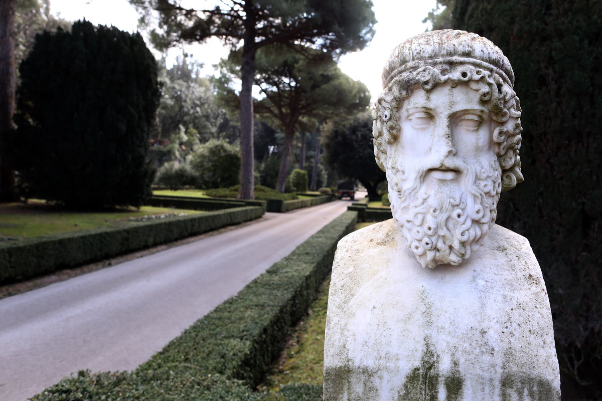 A sculpture stands in the gardens of the Pontifical residence of Castel Gandolfo. The Apostolic Palace and The Ponifical Vill