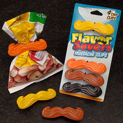 "<em><a href=""http://www.perpetualkid.com/flavor-savors-bag-clip.aspx"">Flavor Savers Mustache Chip Clips</a>, @8.99 on Perpetu"