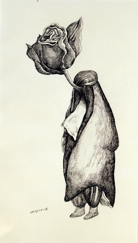 Ardeshir Mohassess Untitled, 1978 Ink on paper H. 17 x W. 12 1/12 in. (44.2 x 32.5 cm) Katayoun Beglari-Scarlet and Peter Sca