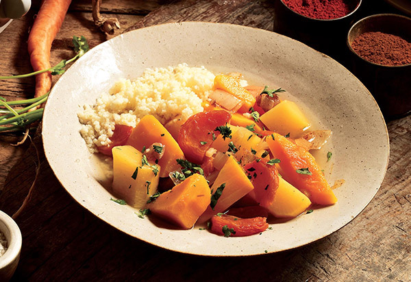 In Moroccan cuisine, a tagine is a slow-cooked stew braised at a low temperature, traditionally in a cone-shaped tagine pot.