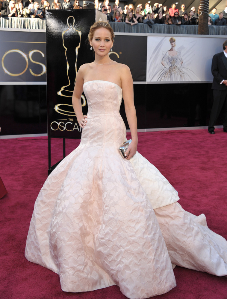 Actress Jennifer Lawrence arrives at the Oscars at the Dolby Theatre on Sunday Feb. 24, 2013, in Los Angeles. (Photo by John