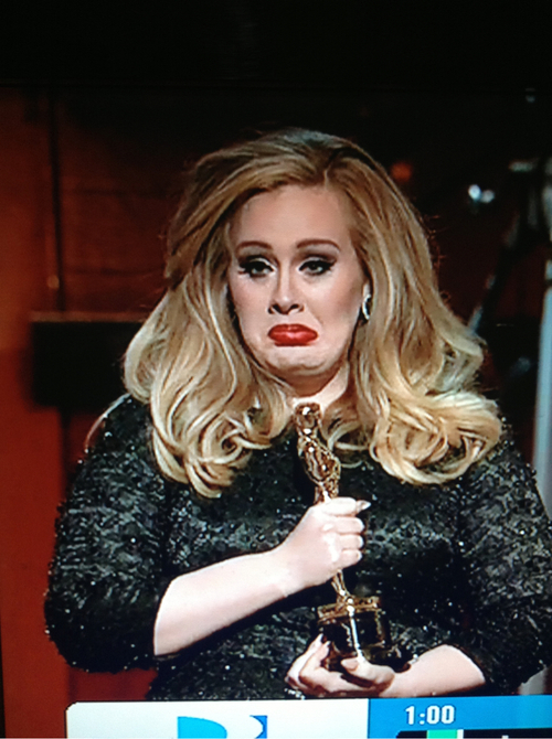 Adele is trying really hard not to cry tears of happiness right now.