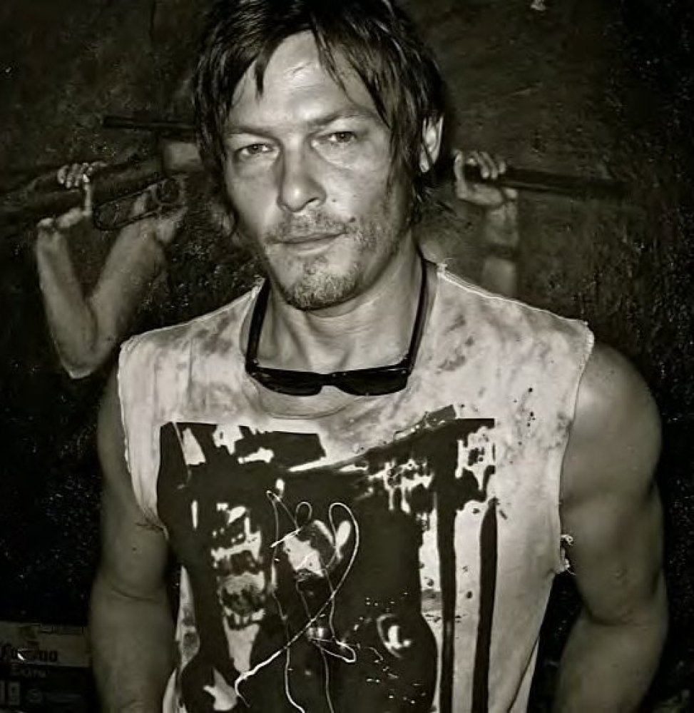 """<em>Actor Norman Reedus at the artist's studio. Photo by Tina Turnbow. Grooming by <a href=""""http://www.SerafinoSays.com/"""" tar"""