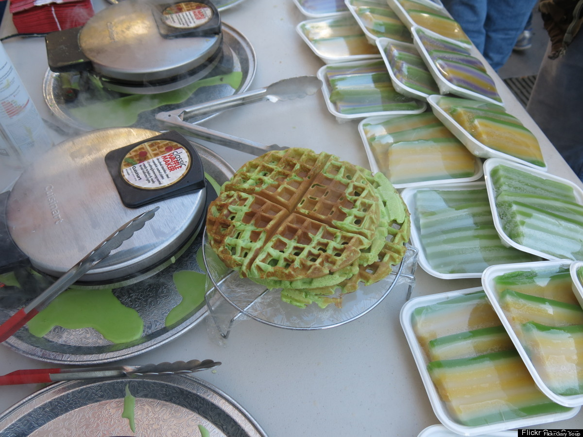 Don't let the green color scare you. If you like coconut, you will love Pandan waffles. While most people think of Belgium as