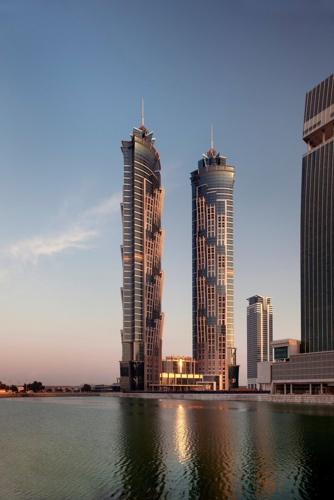 JW Marriott Marquis Dubai at dusk.