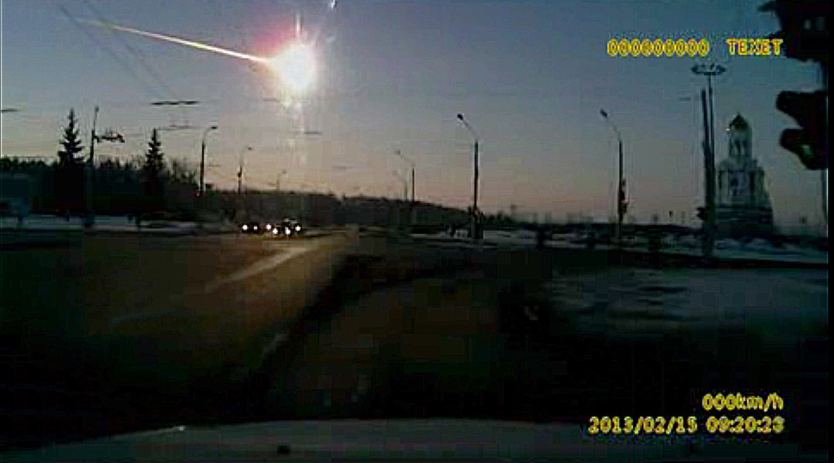 In this frame grab made from dashboard camera video, a meteor streaks through the sky over Chelyabinsk, about 1500 kilometers