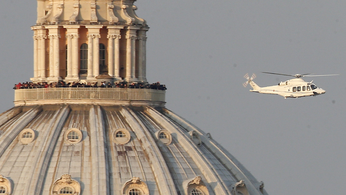 A helicopter with Pope Benedict XVI onboard leaves the Vatican in Vatican City, Thursday, Feb. 28, 2013. The 85-year-old Germ