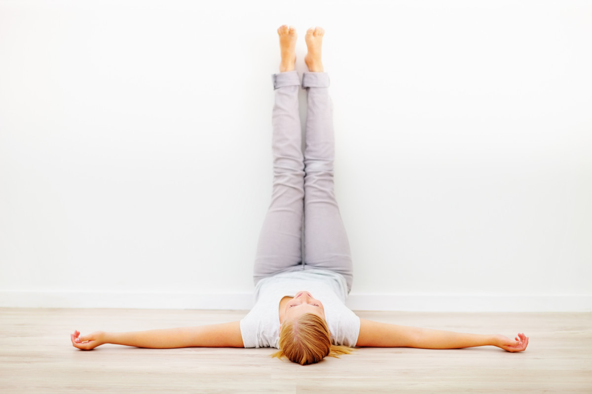 """""""This is a wonderful posture for the evening and especially if you either sit or stand all day,"""" notes Jyoti Solanki, RMT, RY"""