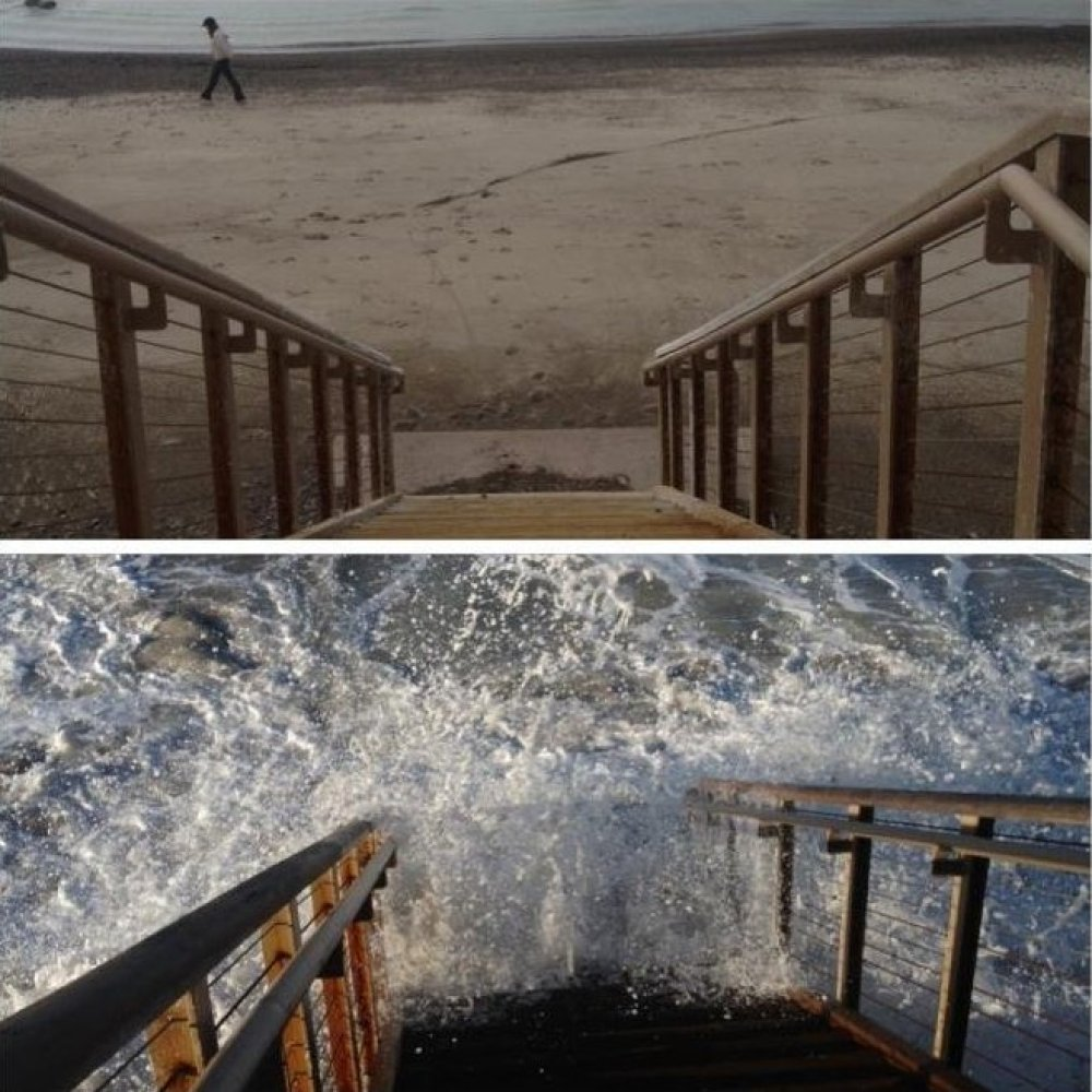 Drowning Islands Facebook fan Tracey Coleman took this before and after photo in San Clemente, California to highlight the be