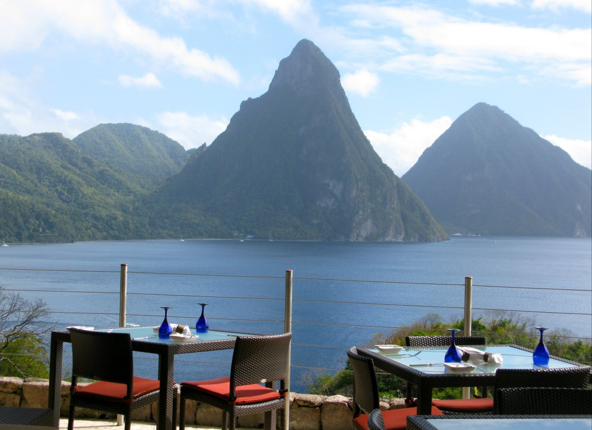 Enjoy stunning vistas of Gros Piton and Petit Piton from every angle at Jade Mountain.