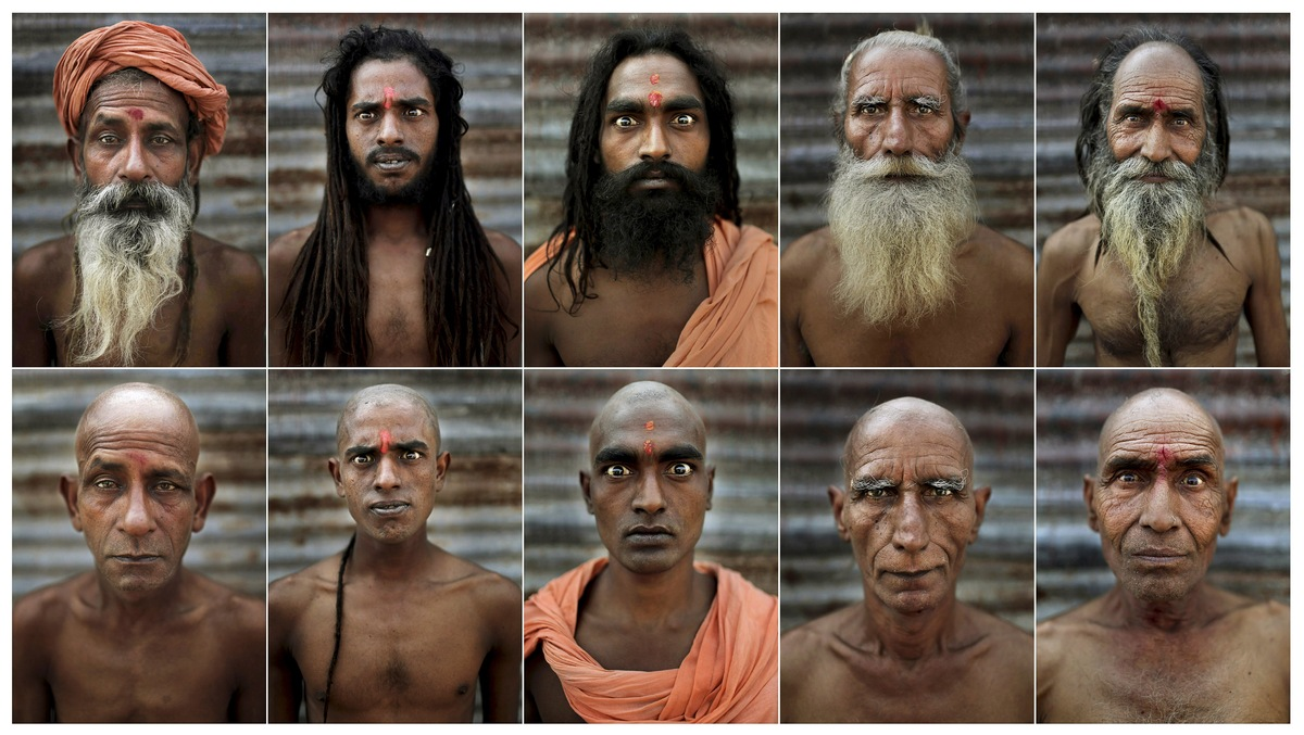 In this combination of ten photos taken Wednesday, Feb. 13, 2013, Hindu holy men are seen before, top, and after , bottom, th