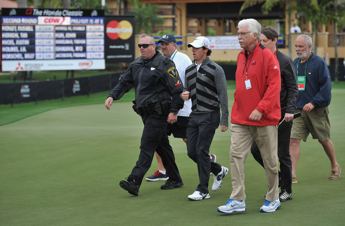 PALM BEACH GARDENS, FL - MARCH 01:  World number one and defending champion, Rory McIlroy of Northern Ireland walks off the c