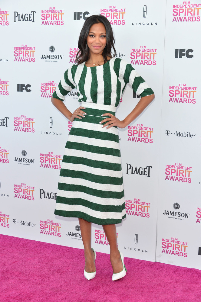 SANTA MONICA, CA - FEBRUARY 23:  Actress Zoe Saldana attends the 2013 Film Independent Spirit Awards at Santa Monica Beach on
