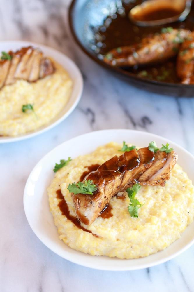 "<strong>Get the <a href=""http://www.halfbakedharvest.com/balsamic-orange-glazed-chicken-with-creamy-goat-cheese-polenta/"">Bal"