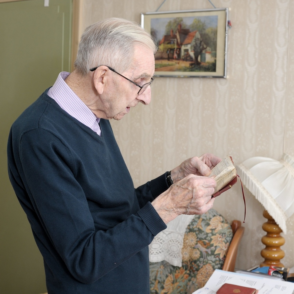 Jack Potter with his diary of his 70 years of marriage to Phyllis. An elderly husband who has documented more than 70 years o