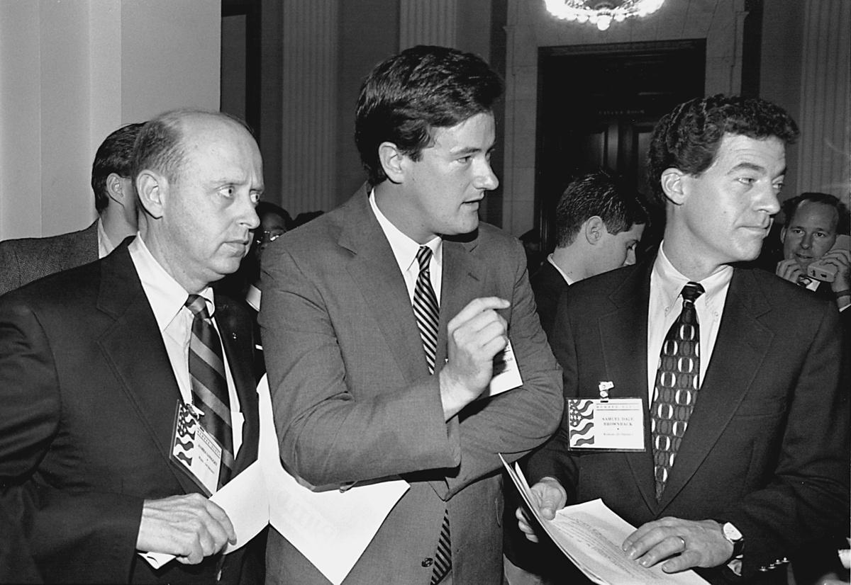 UNITED STATES - DECEMBER 06:  GOP LEADERSHIP CONFERENCE--Freshmen representatives James Longley, R-Maine, Joe Scarborough, R-