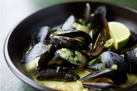 "<strong>Get the <a href=""http://www.simplyrecipes.com/recipes/coconut_curry_mussels/"">Coconut Curry Mussels recipe from Simpl"