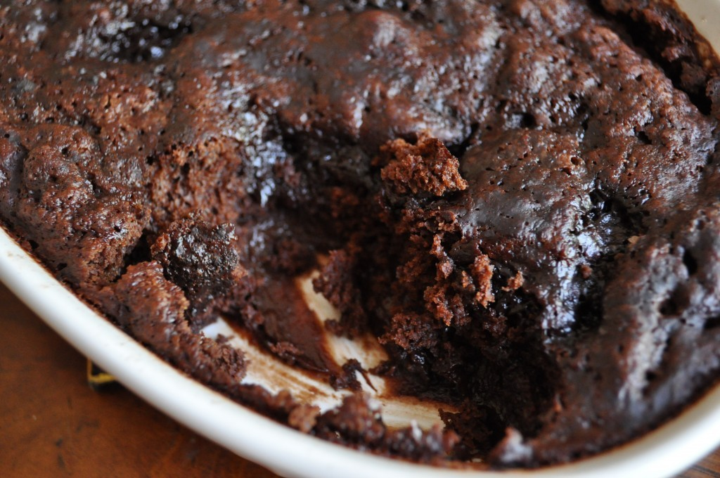 """<strong>Get the <a href=""""http://www.howsweeteats.com/2010/08/chocolate-cobbler/"""">Chocolate Cobbler recipe from How Sweet It I"""