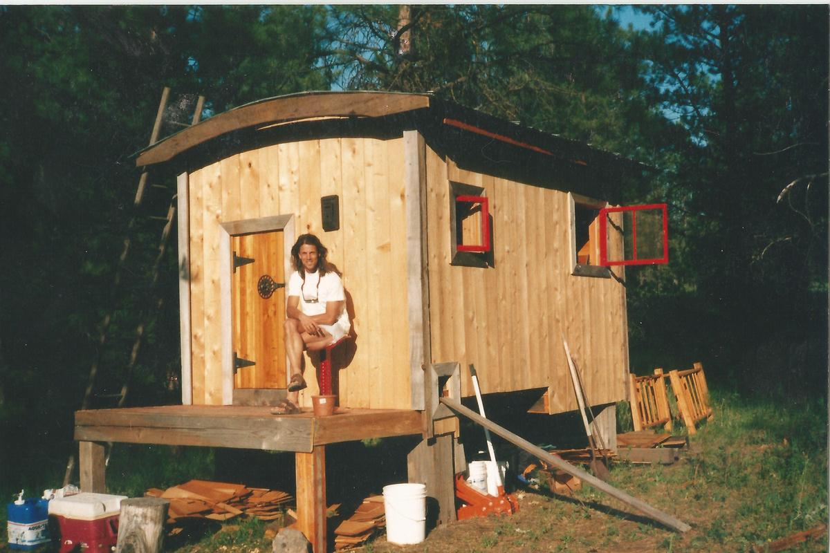 These are of the very first cabin I built, and later sold. (The siding was changed many times; I was never completely satisfi