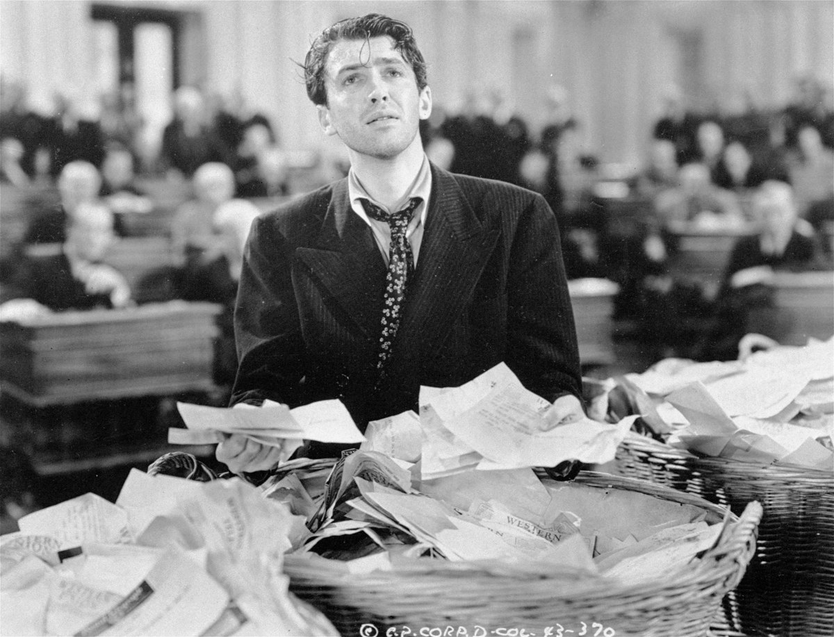 """FILE - This undated black-and-white file photo provided by Columbia shows James Stewart in a scene from the movie: """"Mr. Smith"""