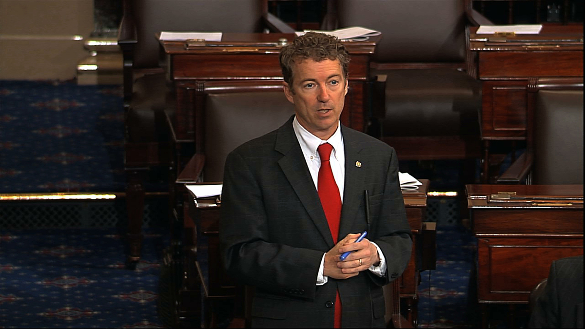 This video frame grab provided by Senate Television shows Sen. Rand Paul, R-Ky. speaking on the floor of the Senate on Capito