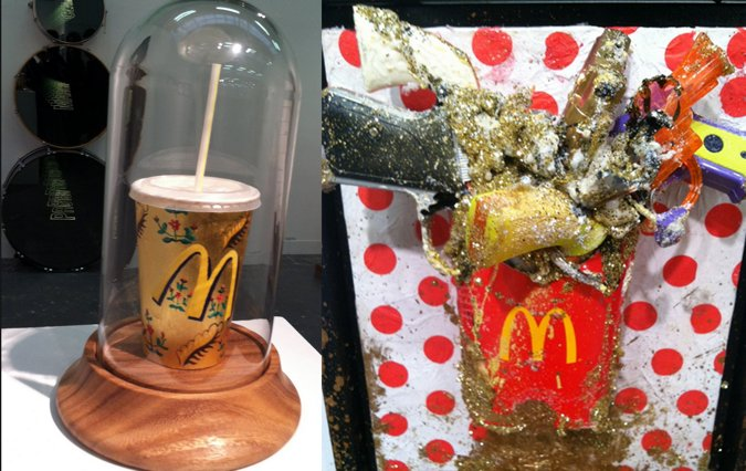 """From a gaudy homage to the fast food titan (with toy guns) to a Mickey D's soda cup displayed inside a precious """"Beauty & The"""