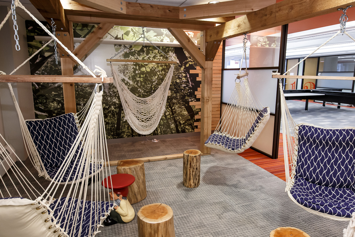 At Braintree, a company that helps online businesses process credit card payments, employees get to hang around in the 'Tree