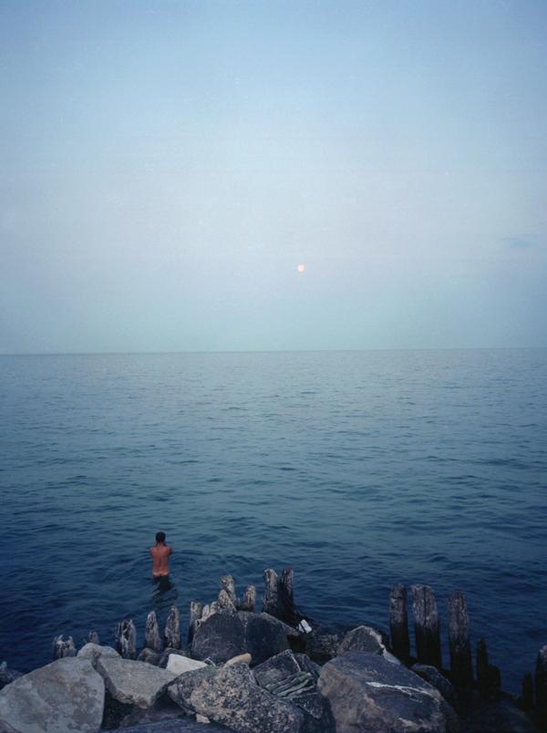 Lake Michigan, full moon.