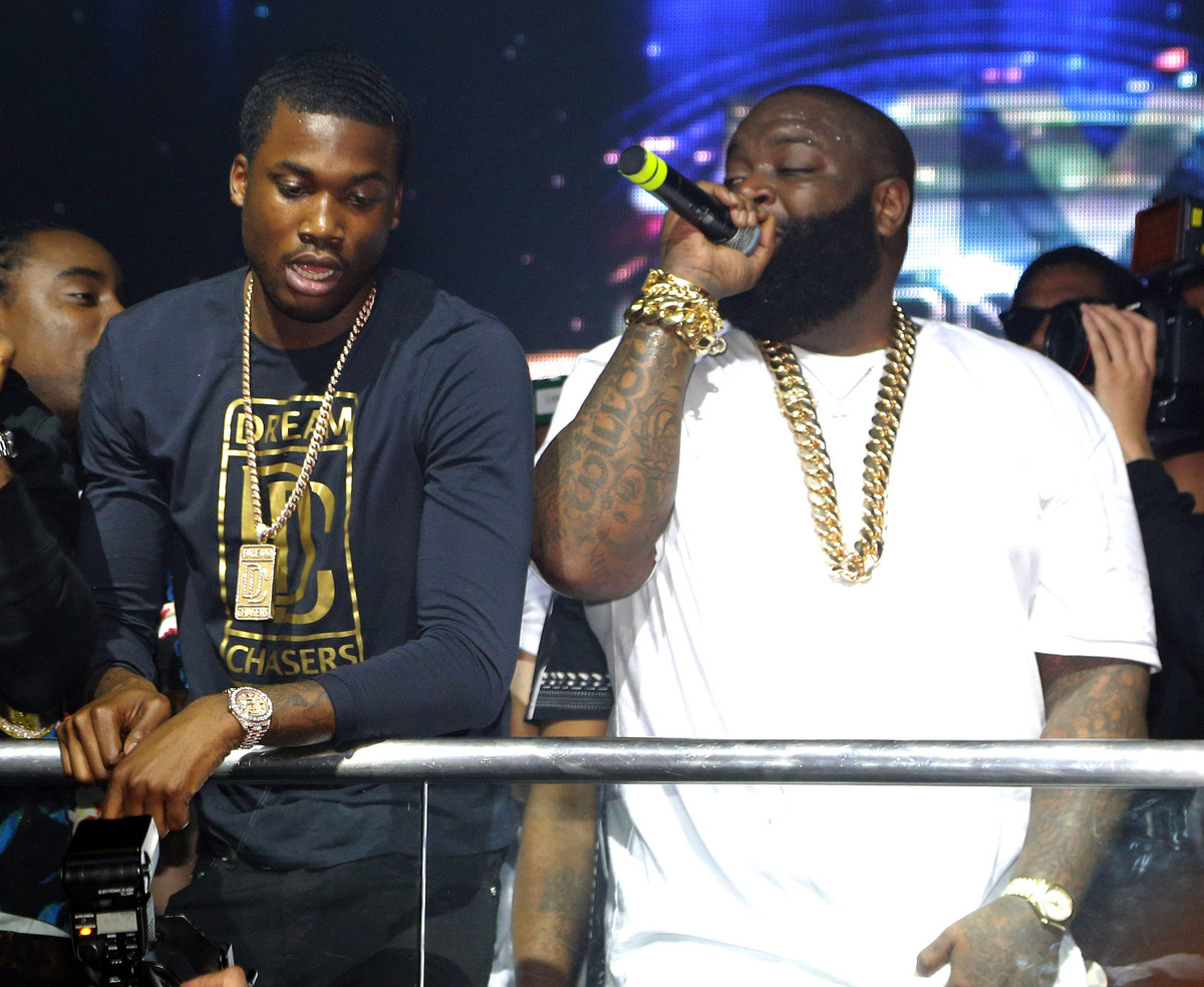 MIAMI BEACH, FL - MARCH 10: Meek Mill and Rick Ross are seen at the Reebok Classic white party hosted by Rick Ross at LIV nig