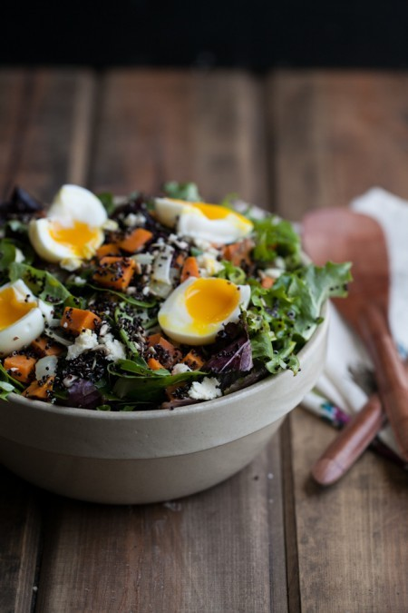 "<strong>Get the <a href=""http://naturallyella.com/2013/01/18/sweet-potato-and-quinoa-salad-with-soft-boiled-eggs/"">Sweet Pota"