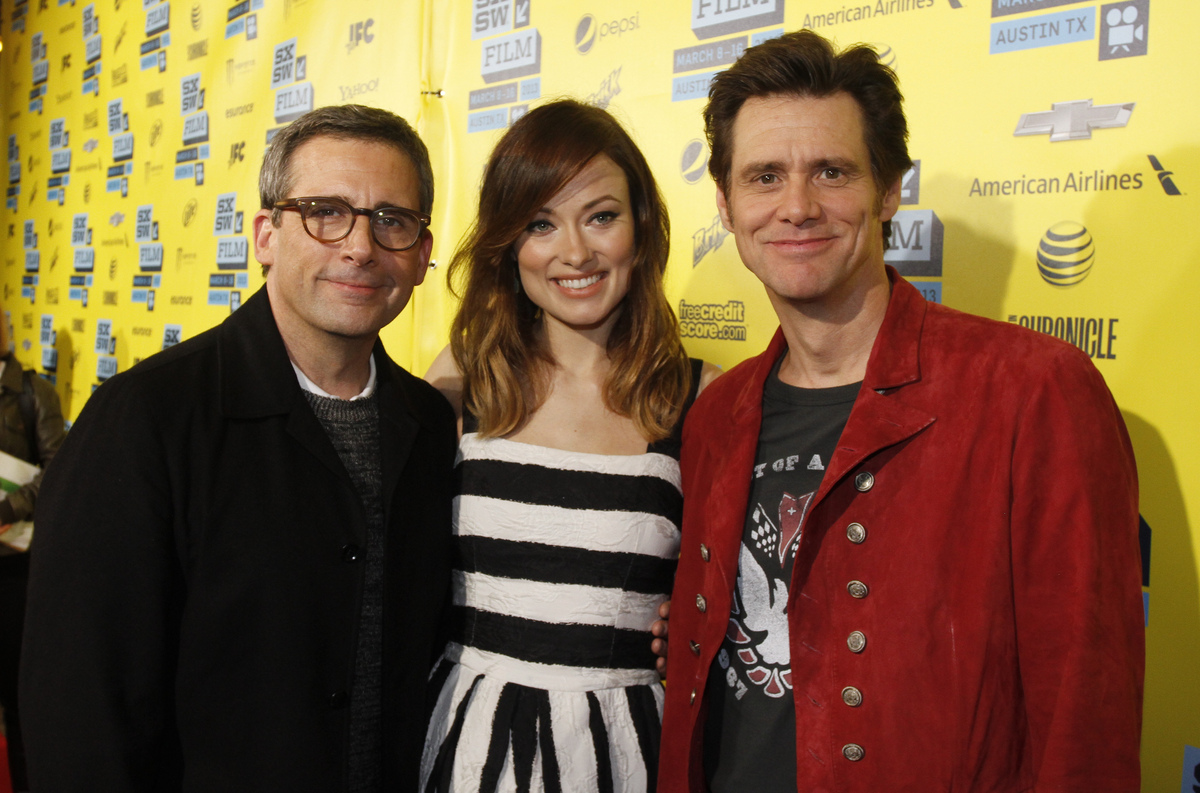 """Steve Carell, Olivia Wilde, and Jim Carrey arrive at the world premiere of New Line Cinema's """"The Incredible Burt Wonderstone"""