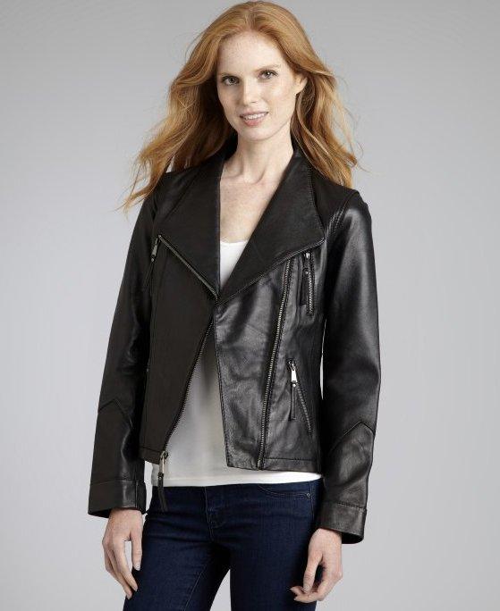 "Wyatt Black Leather Moto Jacket, $137 <a href=""http://www.bluefly.com/wyatt-black-leather-moto-jacket/PRODUCT_FEED/319079101/"