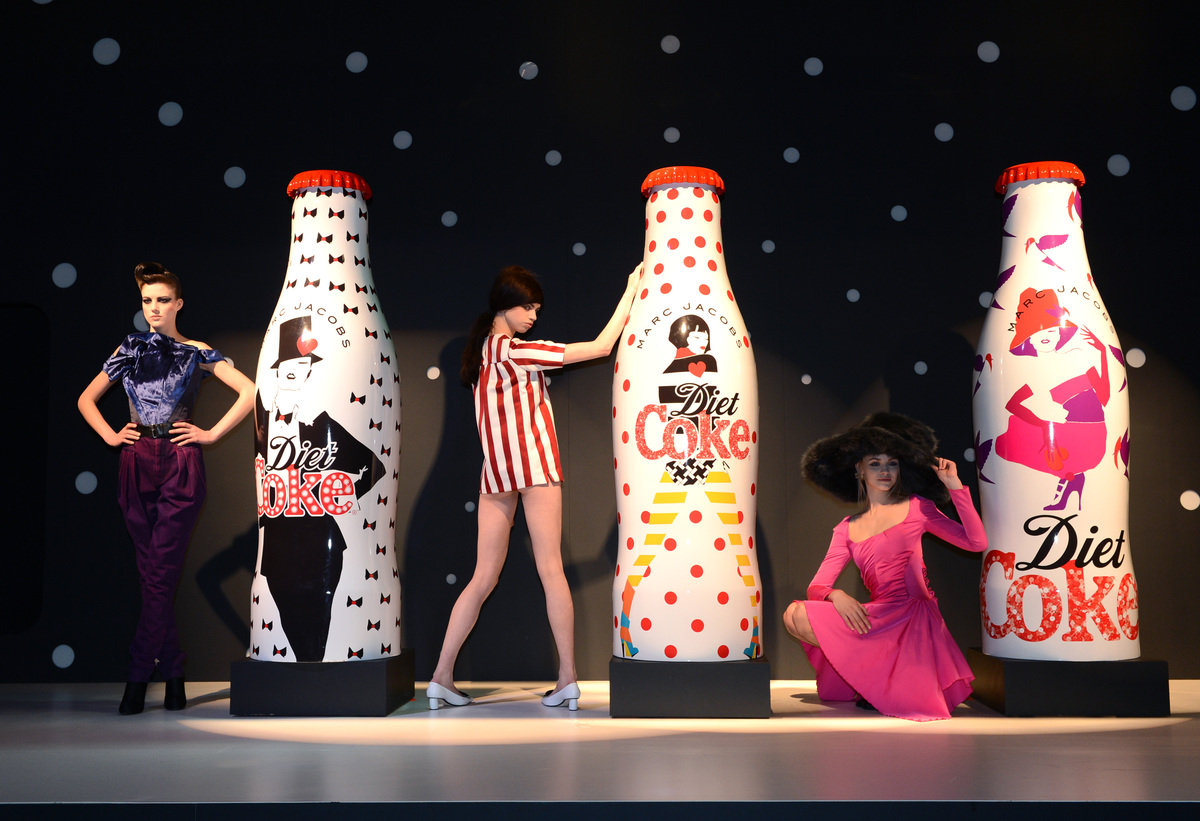 Marc Jacobs unveiled his Diet Coke bottle collection, celebrating 30 years since the brand was launched with models (left to