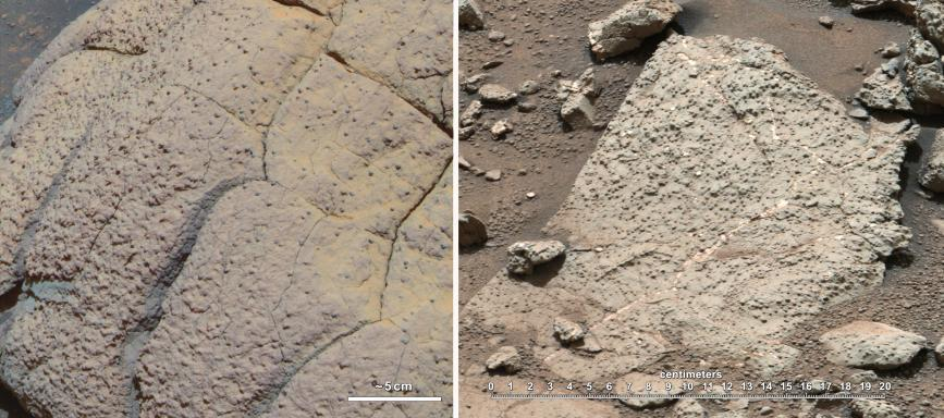 This set of images compares rocks seen by NASA's Opportunity rover (left) and Curiosity rover (right) at two different parts