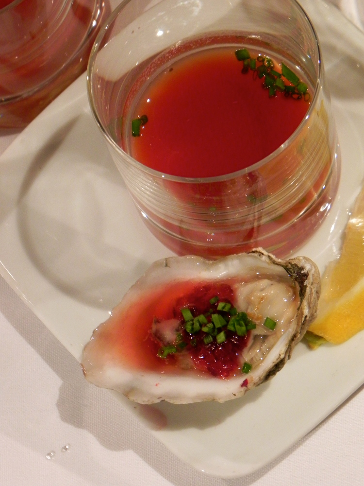 Cherry blossom-inspired oyster shooters and Kumamoto oysters with crushed cherry ponzu