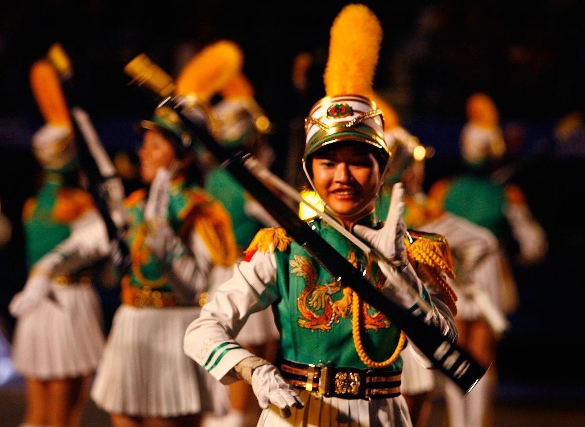EDINBURGH, UNITED KINGDOM - AUGUST 02: The Taipei First Girls' Senior High School Honour Guard and Drum Corps, perform during