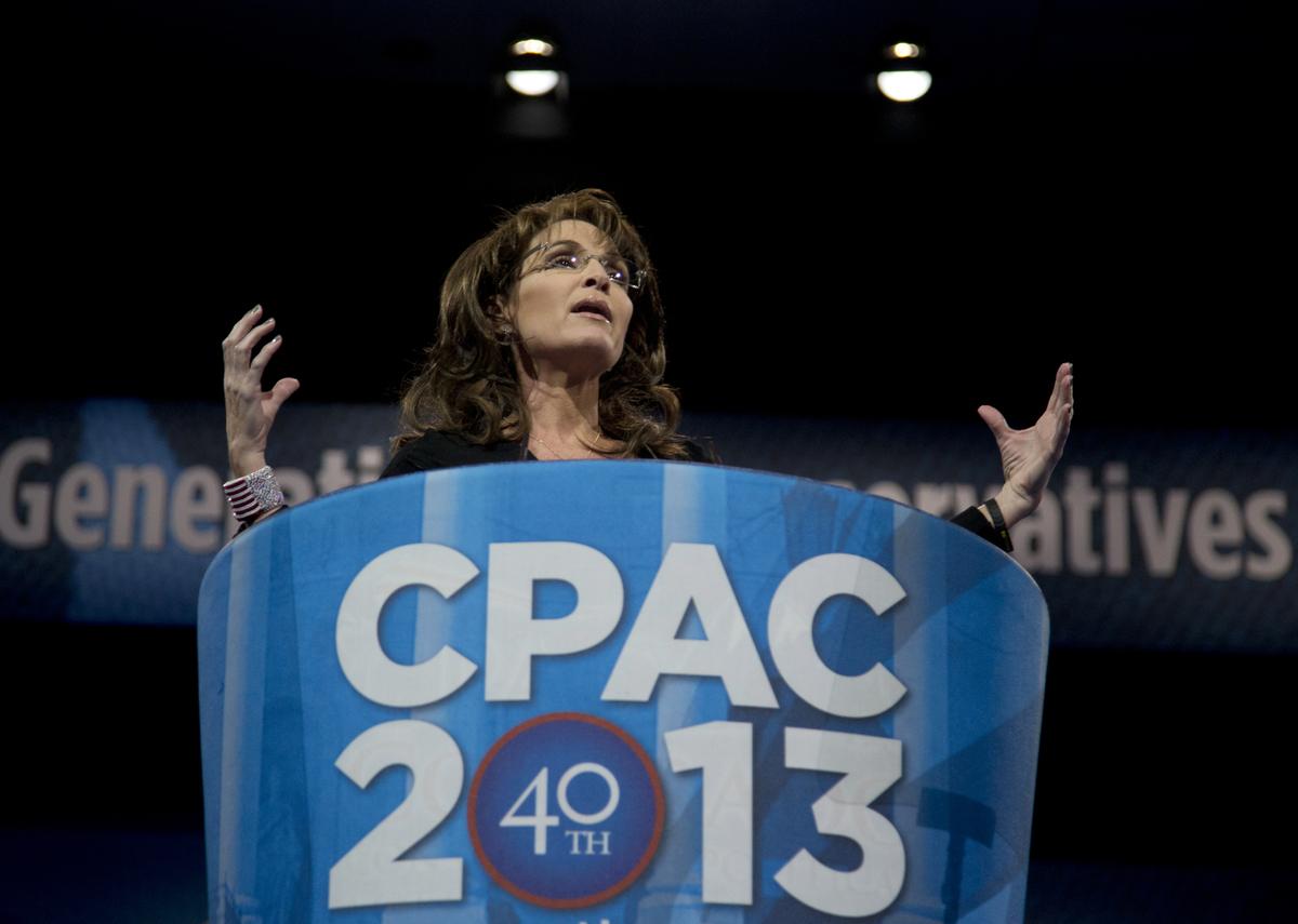 "Former Alaska Gov. Sarah Palin (R) <a href=""http://www.huffingtonpost.com/2013/03/16/sarah-palin-cpac-speech-2013_n_2856977.h"
