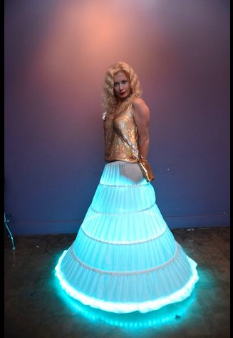 This LED-lined skirt by Illuminode truly lights up the room.