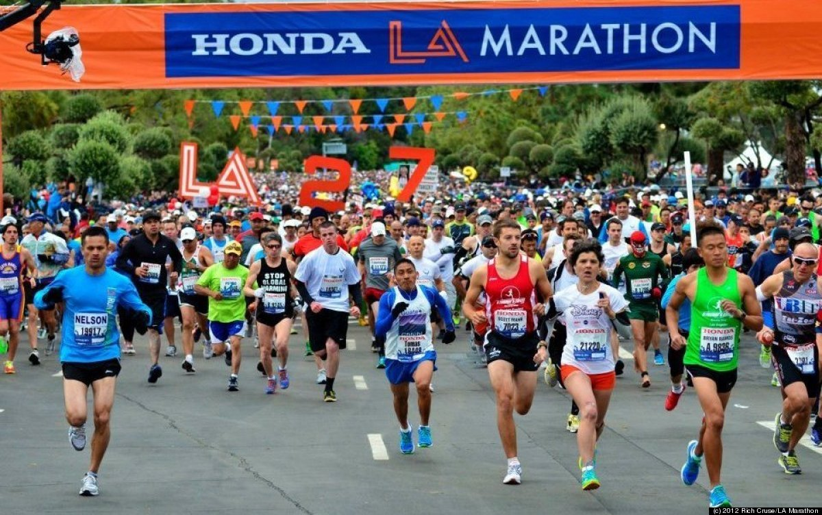 The start of the LA Marathon at Dodger Stadium.   (c) 2012 Rich Cruse/LA Marathon