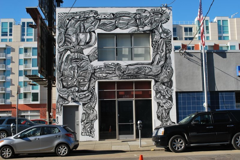 """The<a href=""""http://www.ianrossgallery.com/"""" target=""""_blank""""> Ian Ross Gallery </a>in SoMa features an exterior mural created"""