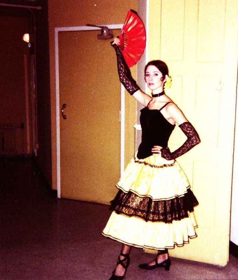 Suzanne at age 27 posing backstage at the Academy of Music in Philadelphia, Pa. before performing in the corps de ballet oper