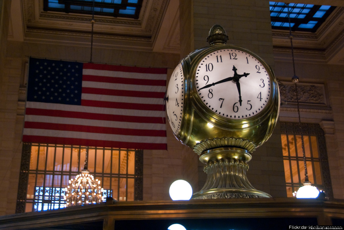 This timekeeper, which sits atop the information booth in Grand Central Station's main concourse, just rang in its 100th birt